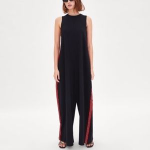 Zara Wide Leg Jumpsuit with Red Stripe